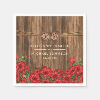 Beautiful Red Lily Flowers on a Wood Background Paper Napkins