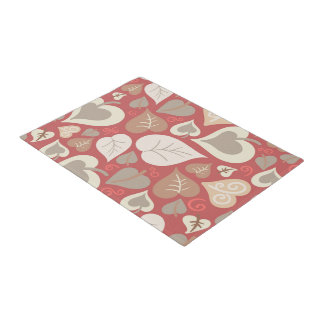 beautiful red love hearts leaves doormat