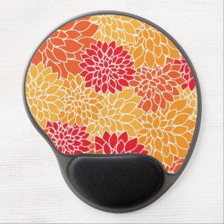 Beautiful Red/Orange Floral Pattern Gel Mousepad
