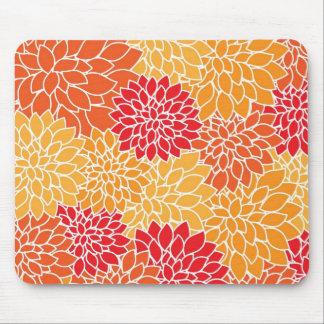 Beautiful Red/Orange Floral Pattern Mousepad