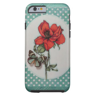 beautiful red/orange tea rose w/butterfly tough iPhone 6 case