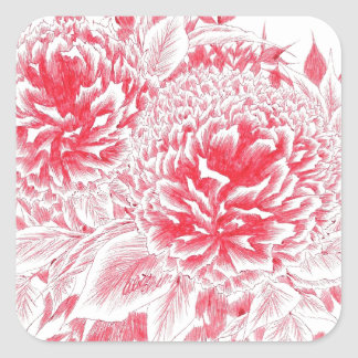 Beautiful Red Peonies Square Sticker