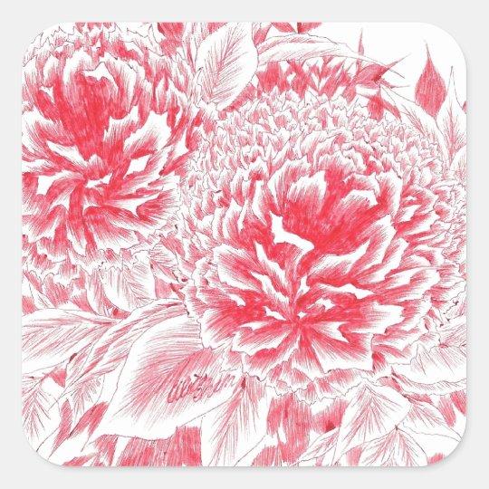 Beautiful Red Peonies Square Sticker