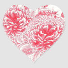 Beautiful Red Peony Heart Sticker