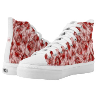 Beautiful Red & Pink Monogramed High Top Shoes
