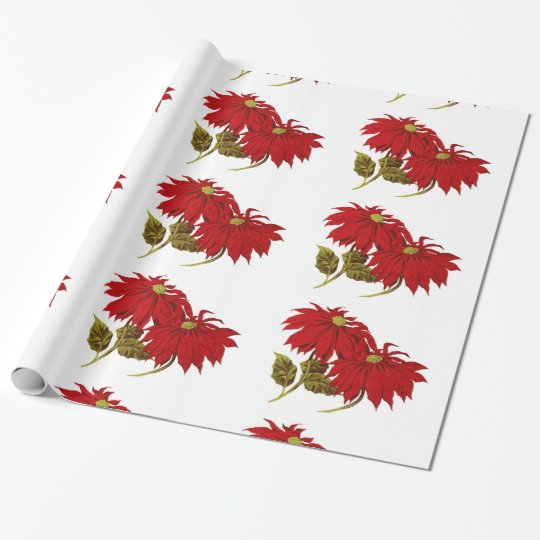 Beautiful Red Poinsettia Drawing Wrapping Paper