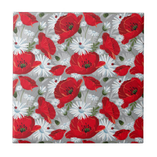 Beautiful red poppy, white daisies and ladybug small square tile