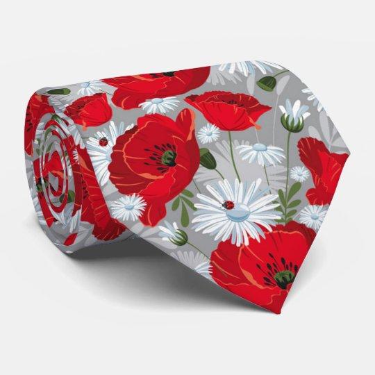 Beautiful red poppy, white daisies and ladybug tie