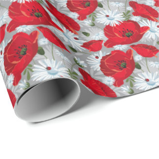 Beautiful red poppy, white daisies and ladybug wrapping paper