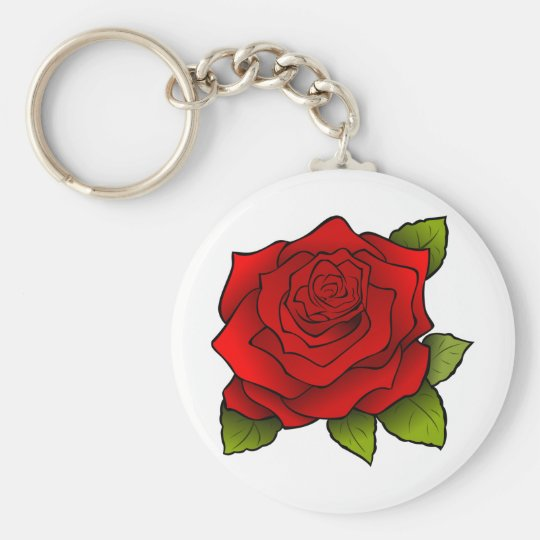 Beautiful Red Rose Basic Round Button Key Ring