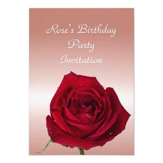 Beautiful Red Rose birthday Invitation