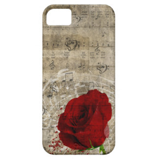 Beautiful red rose music notes swirl faded piano iPhone 5 cases
