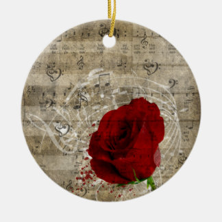 Beautiful red rose music notes swirl faded piano christmas ornament