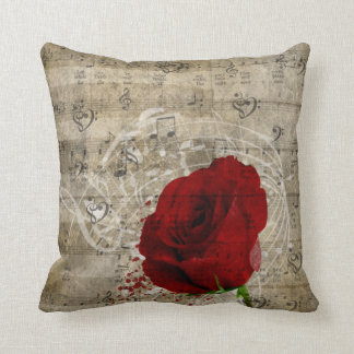 Beautiful red rose music notes swirl faded piano cushion