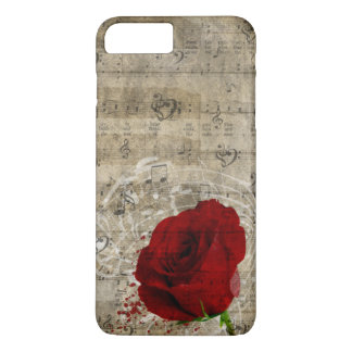 Beautiful red rose music notes swirl faded piano iPhone 8 plus/7 plus case
