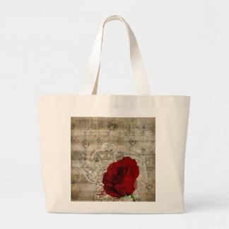 Beautiful red rose music notes swirl faded piano large tote bag