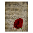 Beautiful red rose music notes swirl faded piano poster