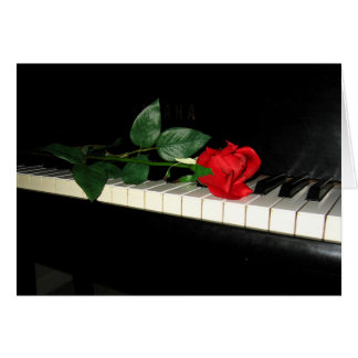 Beautiful Red Rose on Piano Greeting Card