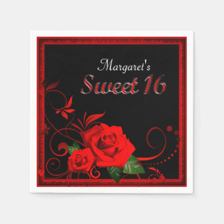 Beautiful red rose sweet 16 napkin paper napkin