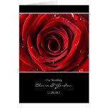 Beautiful Red Rose Wedding Card Invite -Black