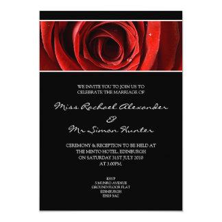 Beautiful Red Rose Wedding Invitiation- Black 13 Cm X 18 Cm Invitation Card