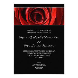 Beautiful Red Rose Wedding Invitiation- Black Announcement