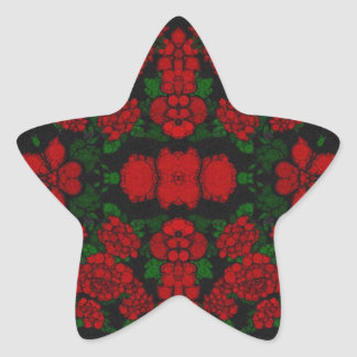 Beautiful Red Roses Abstract Star Sticker