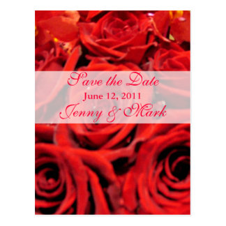 Beautiful Red Roses Save the Date Postcard