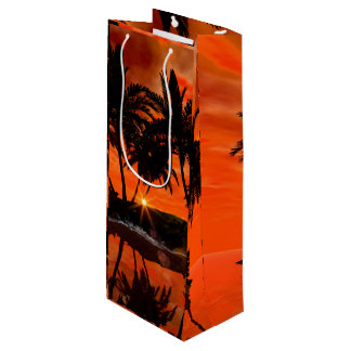 Beautiful red sunset wine gift bag