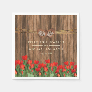 Beautiful Red Tulips on Wood Paper Serviettes