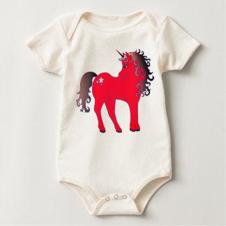 Beautiful Red Unicorn Baby Bodysuit