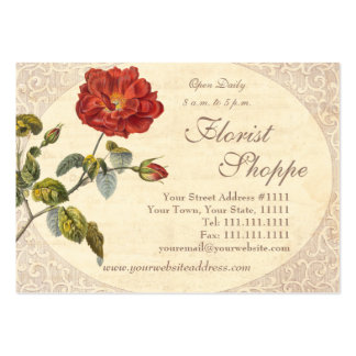 Beautiful Red Vintage Rose Old Fashioned Business Cards