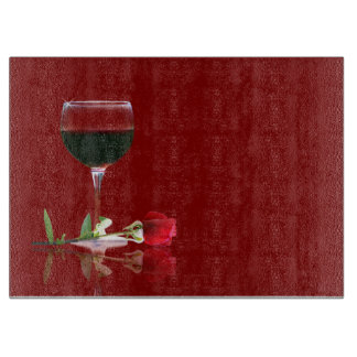 Beautiful Red Wine & Rose Customizable Cutting Cutting Board