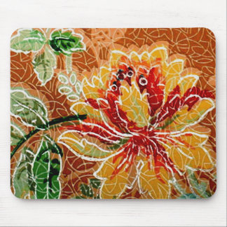 Beautiful Red Yellow Vintage Floral Wallpaper Mouse Pad