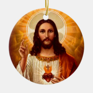 Beautiful religious Sacred Heart of Jesus image Christmas Ornament