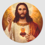 Beautiful religious Sacred Heart of Jesus image Round Sticker