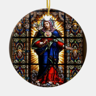 Beautiful Religious Sacred Heart of Virgin Mary Double-Sided Ceramic Round Christmas Ornament