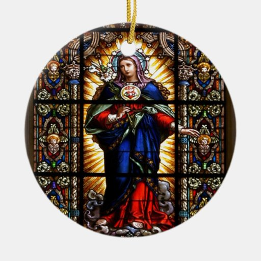 Beautiful Religious Sacred Heart of Virgin Mary Ornaments