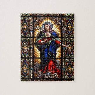 Beautiful Religious Sacred Heart of Virgin Mary Jigsaw Puzzle