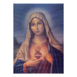 Beautiful Religious Sacred Heart of Virgin Mary Poster
