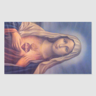 Beautiful Religious Sacred Heart of Virgin Mary Rectangular Sticker