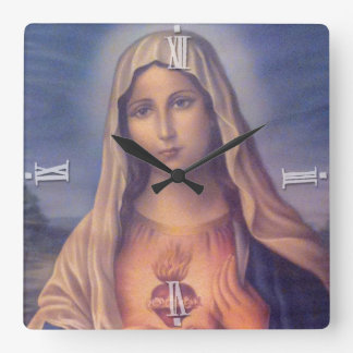 Beautiful Religious Sacred Heart of Virgin Mary Square Wall Clock