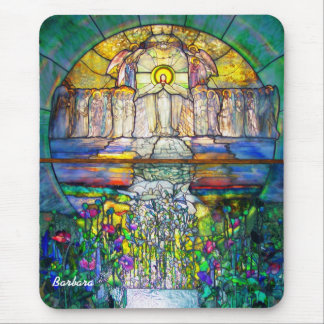 Beautiful Religious Stained Glass Photograph Mouse Pads