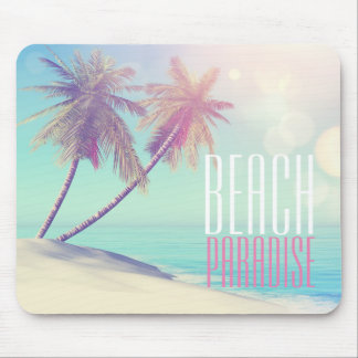 Beautiful Retro Beach Paradise Palm Tree | Mouse Mat