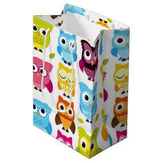 Beautiful Retro Owl Medium Gift Bag