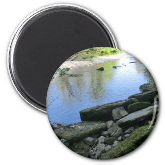 Beautiful River Bank Scene 6 Cm Round Magnet