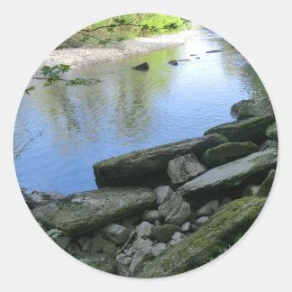 Beautiful River Bank Scene Round Sticker