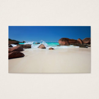Beautiful rocky coast in Seychelles Business Card