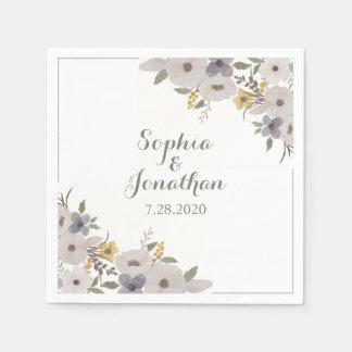 Beautiful Romantic Anemone Floral Wedding Disposable Napkin
