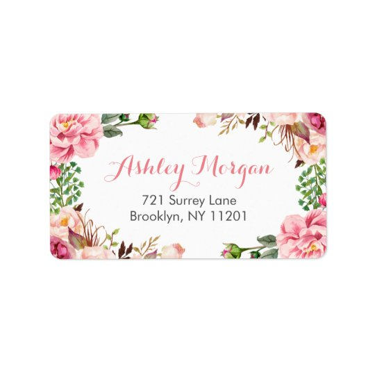 Beautiful Romantic Chic Floral Flowers Address Label